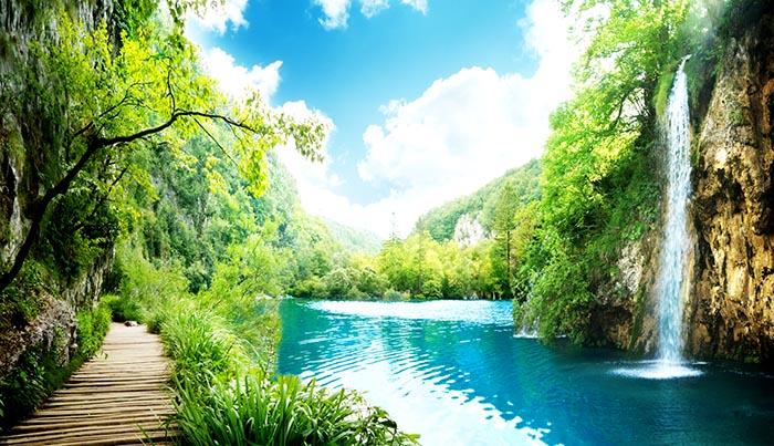 giấy dán tường 3d phong cảnh thác nước