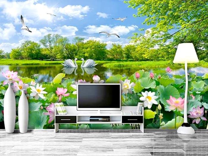 Tranh 3D phong cảnh chủ đề hồ nước , chim và cây xanh