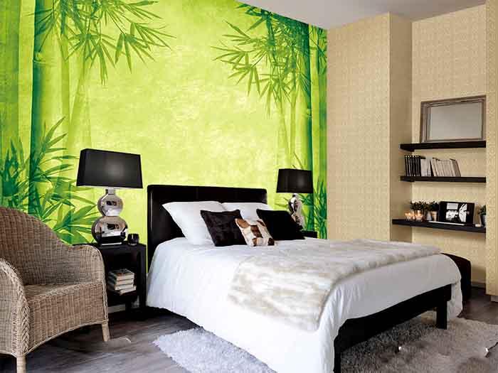 Tranh 3D phong cảnh cây xanh trong phòng ngủ