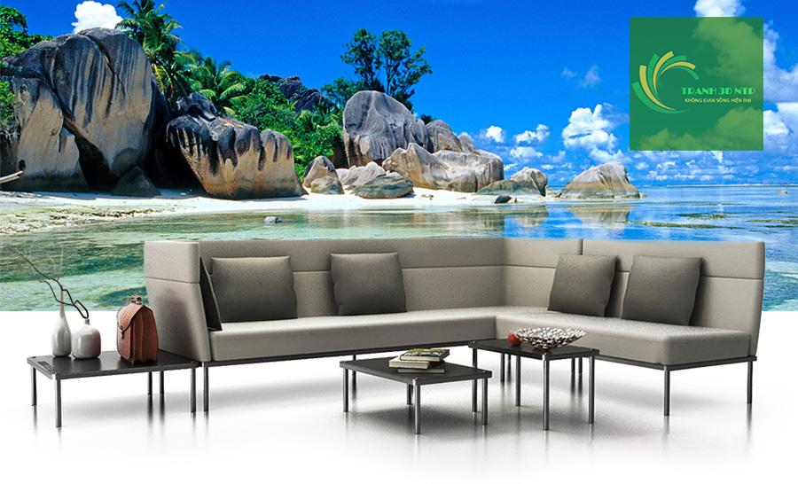 tranh dán tường 3d phong cảnh biển phòng khách