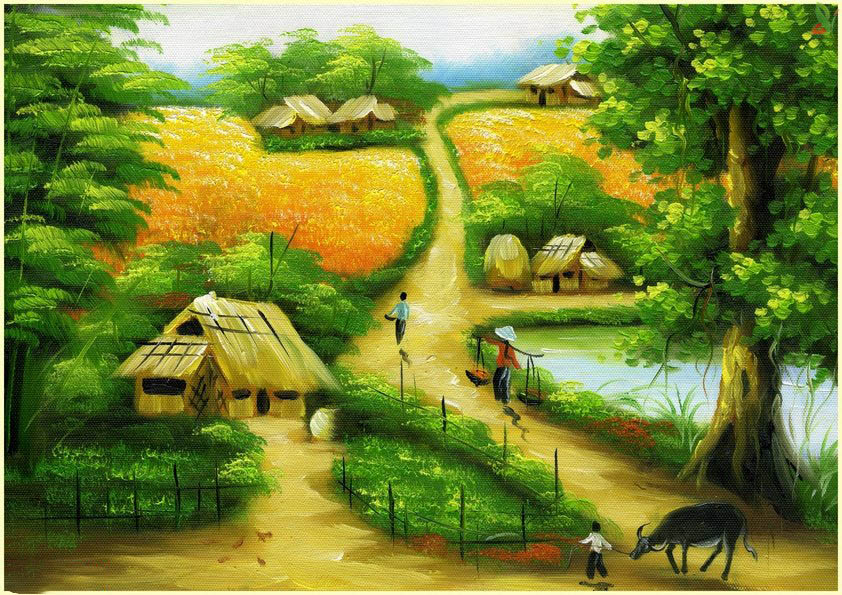tranh dán tường 3d đồng quê