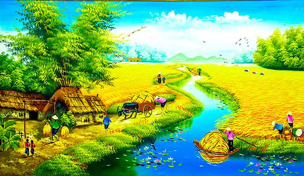 tranh sơn dầu khung cảnh đồng quê việt nam