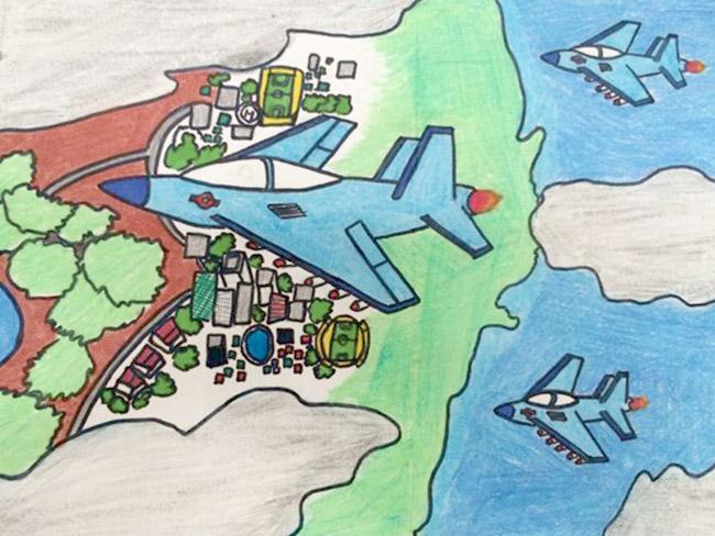 tranh vẽ lực lượng không quân bảo vệ bầu trời