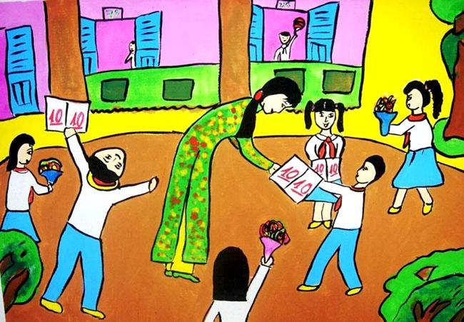 tranh vẽ tình cảm cô giáo và học trò