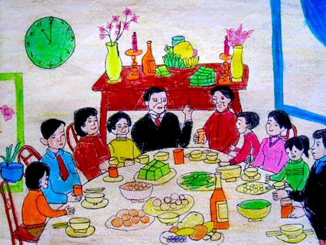 tranh vẽ chủ đề gia đình