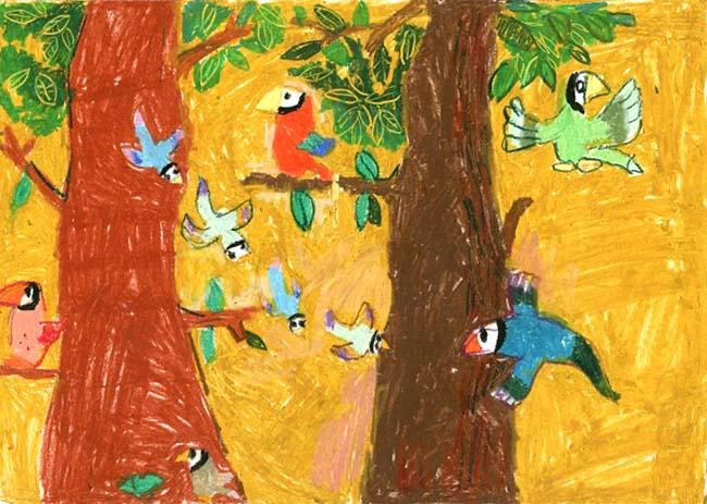 tranh vẽ đàn chim