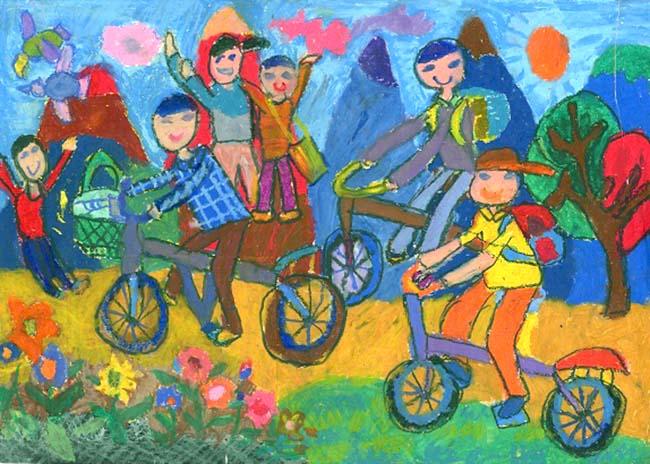 tranh vẽ đạp xe đến trường