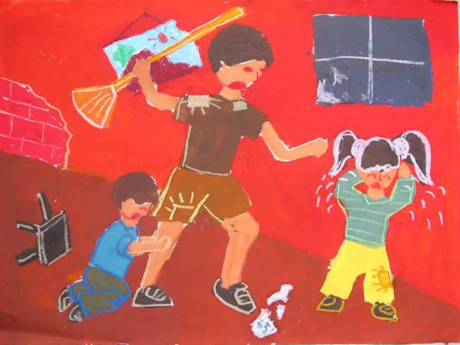 tranh vẽ nói không với bạo lực gia đình