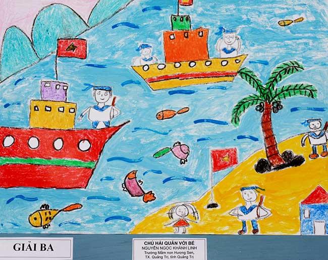 Tranh vẽ chú hải quân với bé