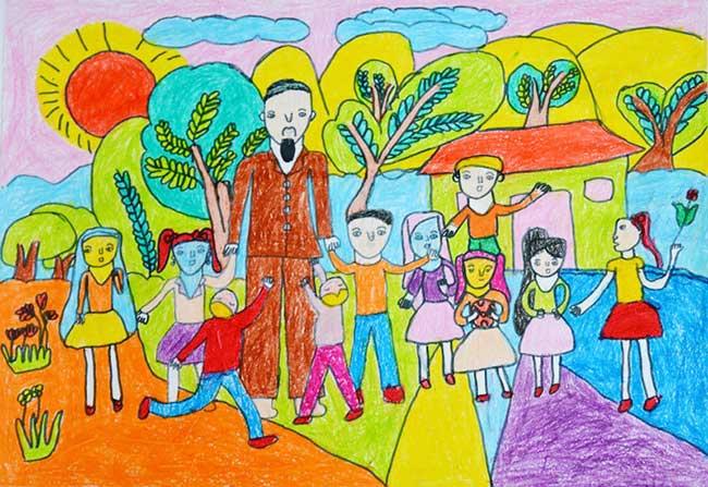 Vẽ tranh về bác hồ kính yêu