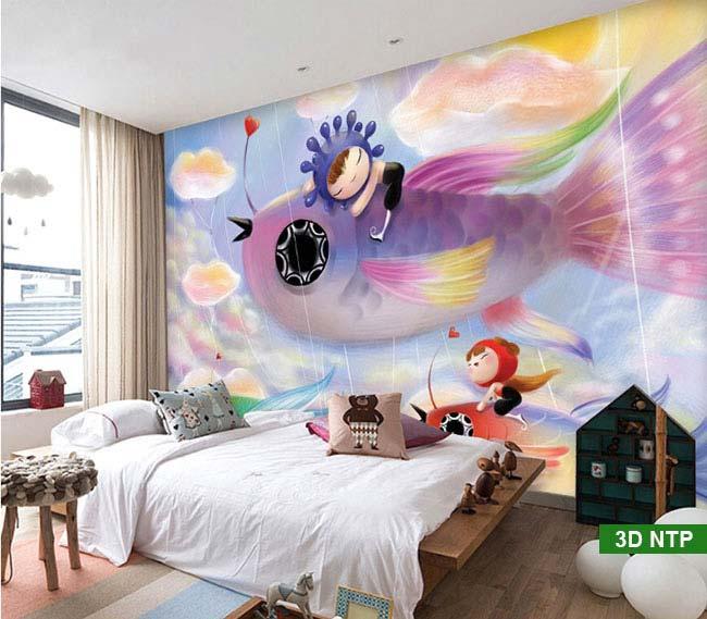 tranh 3d dán tường phòng ngủ
