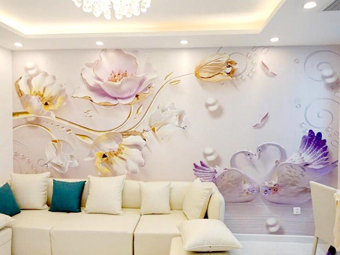tranh 3d dán tường phòng khách đẹp