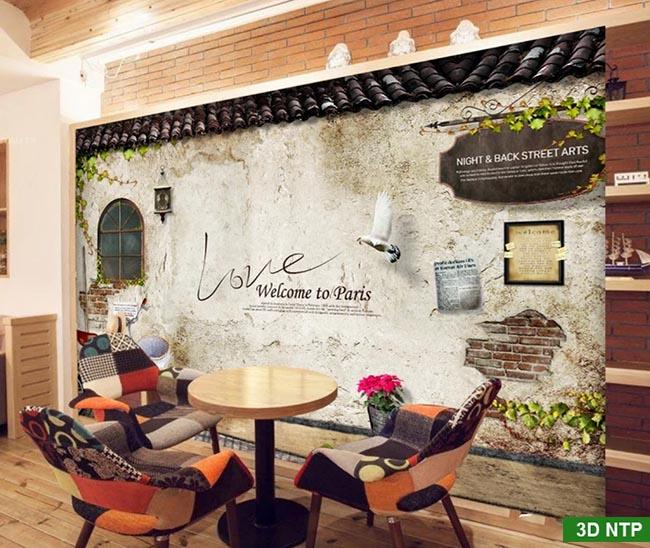 tranh 3d dán tường quán cafe