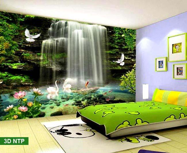tranh 3d dán tường giả thác nước