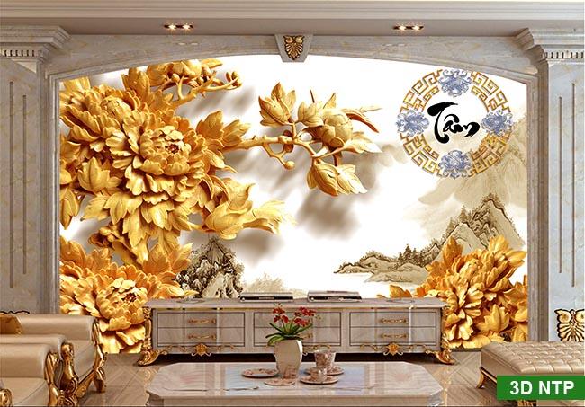 tranh 3d dán tường điêu khắc tinh sảo