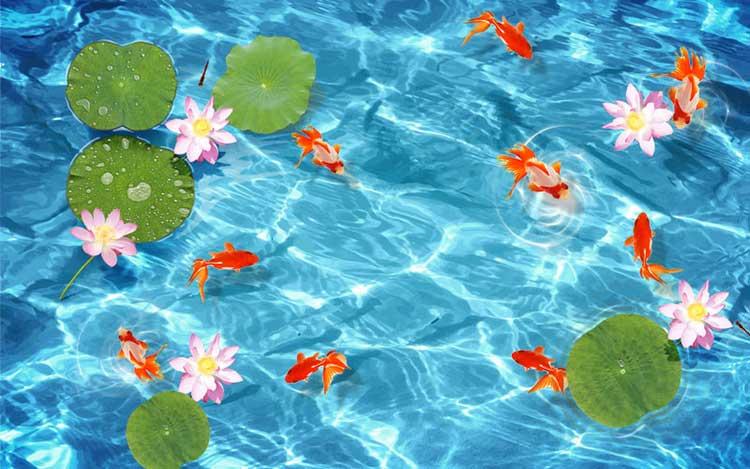 tranh cá chép hoa sen hóa rồng 3D