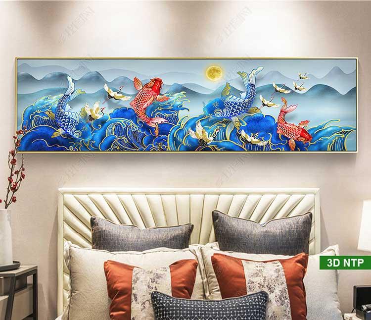 Tranh cá chép treo tường phòng khách