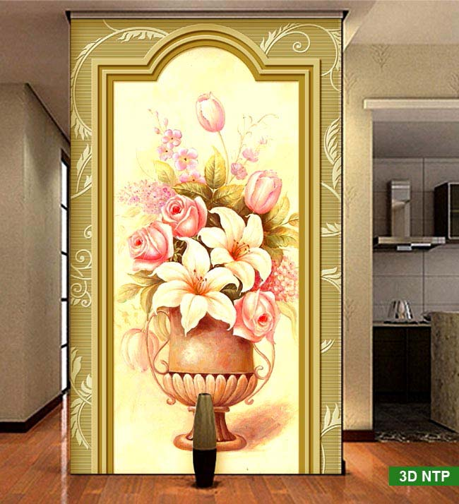 tranh dán tường bình hoa