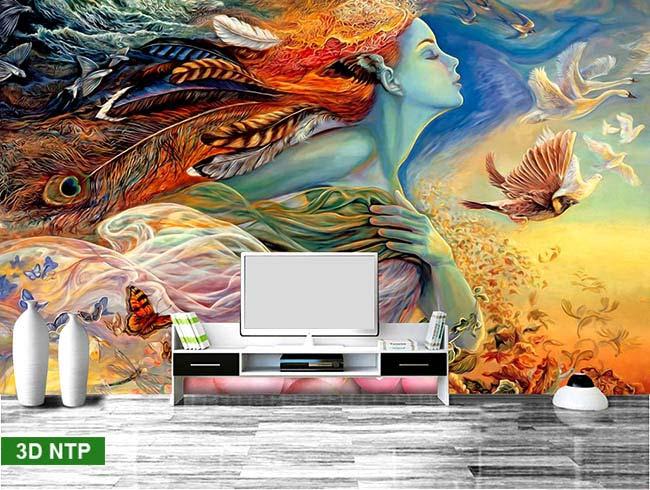 tranh dán tường giả sơn dầu