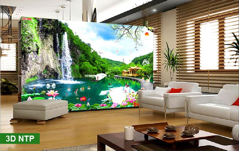 Tranh dán tường phong cảnh thác nước hồ cá