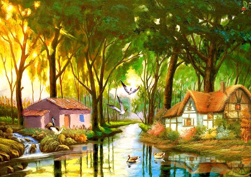 Vẽ tranh sơn dầu chủ đề phong cảnh thiên nhiên quê hương