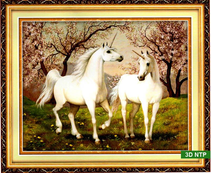 Tranh thêu chữ thập ngựa và phong cảnh