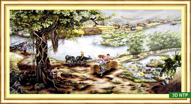 Tranh thêu chữ thập phong cảnh thôn quê Việt Nam xưa kia