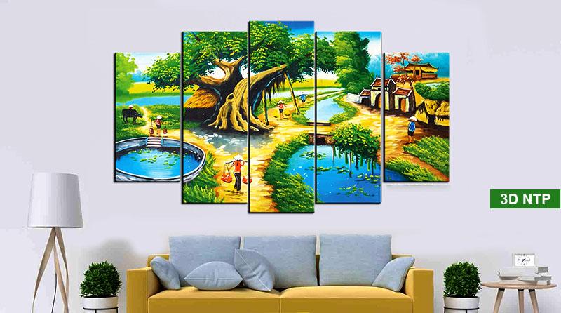 Phong cảnh làng quê Việt Nam luôn là đề tài được yêu thích trên mọi loại tranh
