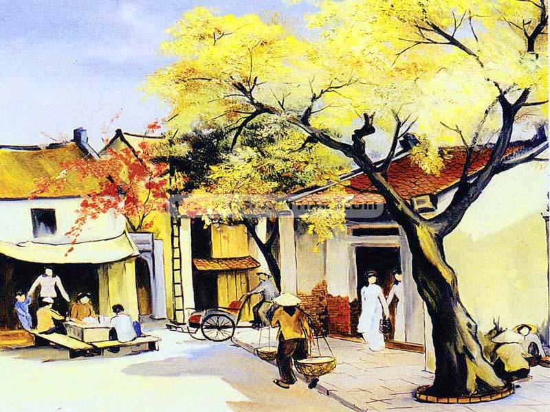 Tranh vẽ phong cảnh phố cổ hà nội xưa