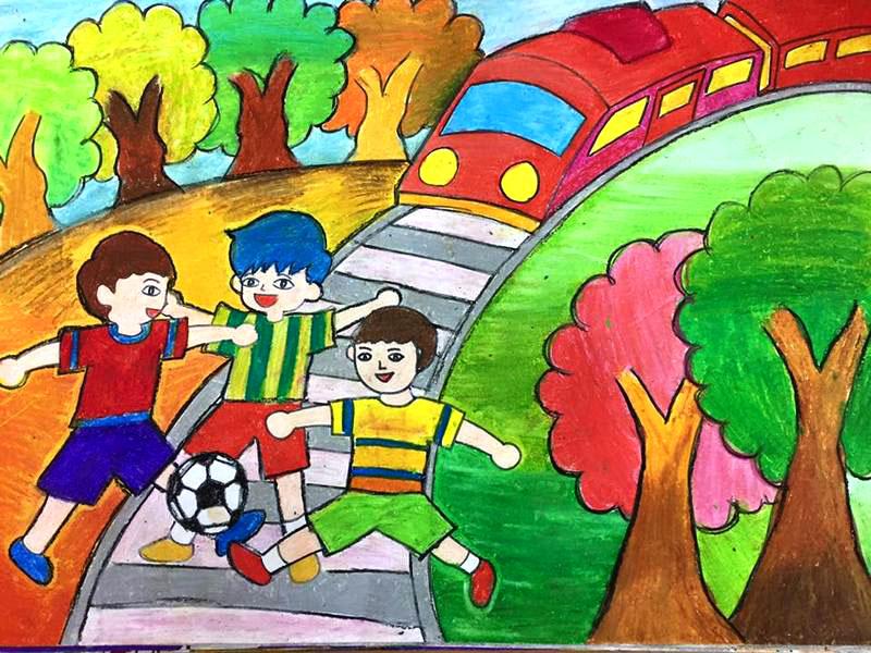 Tranh vẽ phong cảnh quê hương đơn giản của học sinh