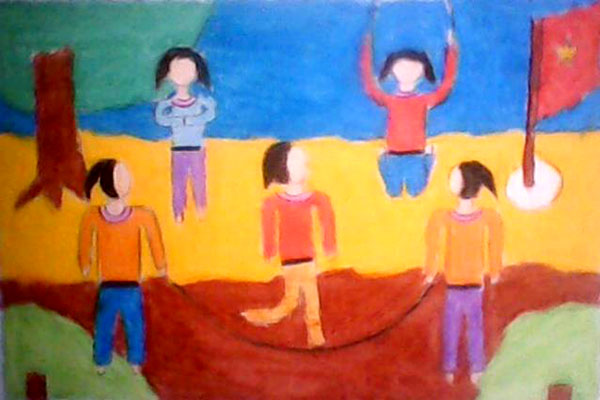 Vẽ tranh đề tài trò chơi dân gian nhảy dây