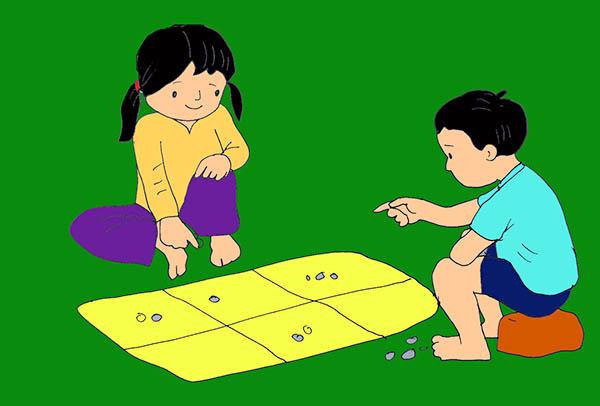 Vẽ tranh đề tài trò chơi dân gian ô ăn quan
