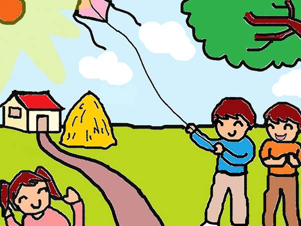 Vẽ tranh đề tài trò chơi dân gian thả diều