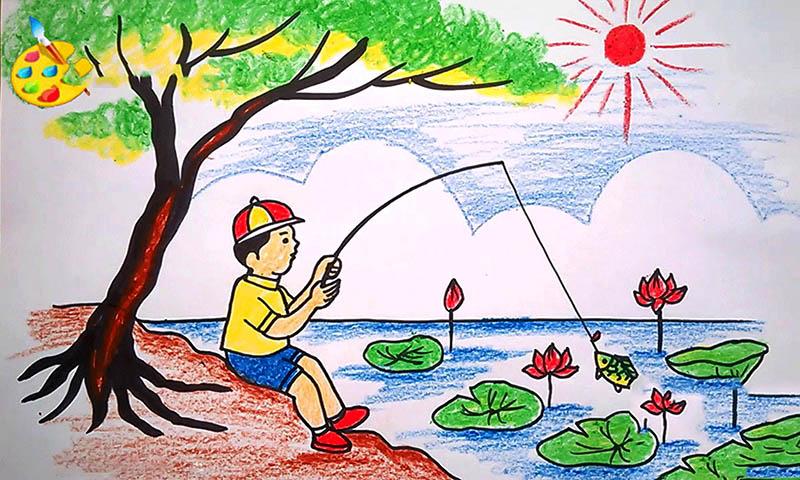 Tranh vẽ phong cảnh quê hương học sinh lớp 7 , 8 , 9