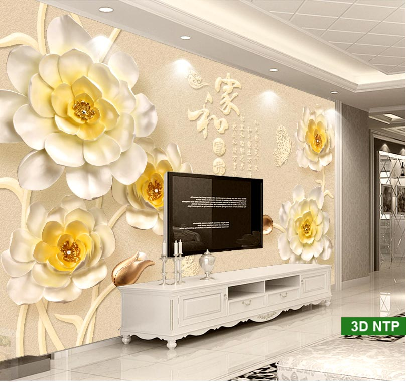 tranh dán tường phòng khách 3D đẹp