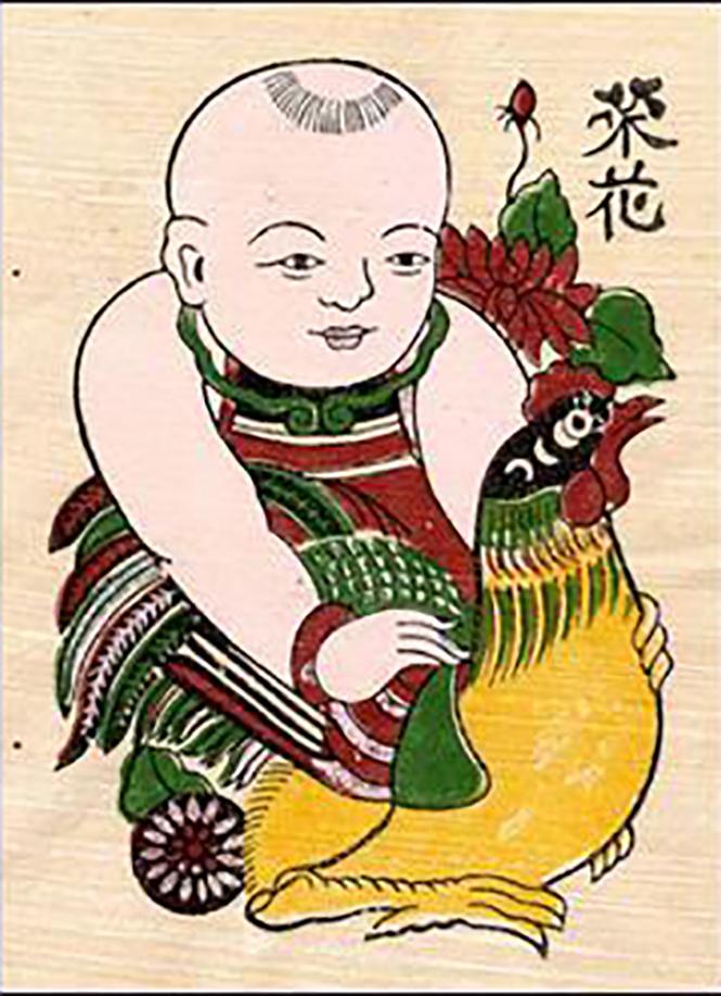 tranh đông hồ em bé ôm chú gà