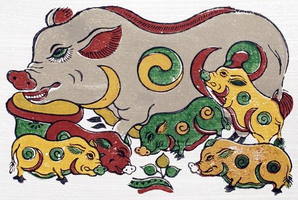 tranh dân gian đông hồ đàn lợn