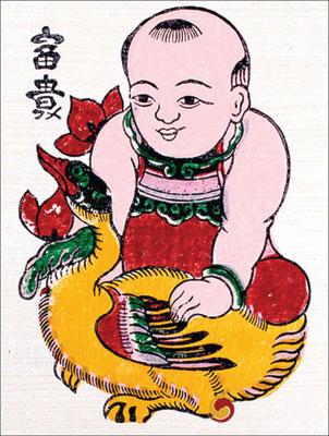 tranh đông hồ em bé ôm chú vịt