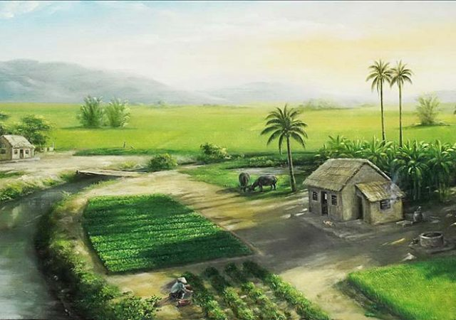 Tranh phong cảnh làng quê Việt Nam đẹp nhất