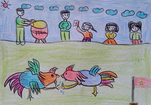 vẽ tranh đề tài lễ hội chọi gà