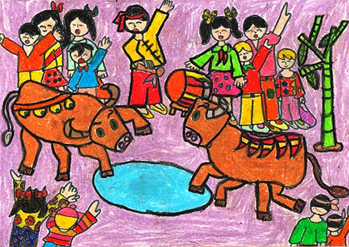 vẽ tranh đề tài lễ hội chọi trâu