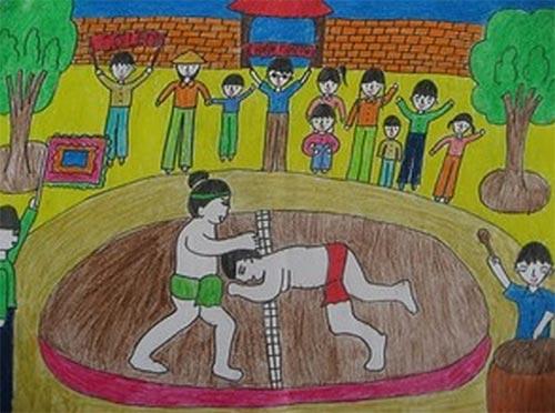 vẽ tranh đề tài lễ hội đấu vật