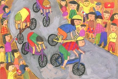 vẽ tranh đề tài lễ hội đua xe