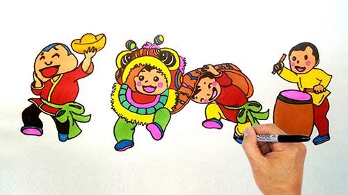 vẽ tranh đề tài lễ hội múa lân rồng