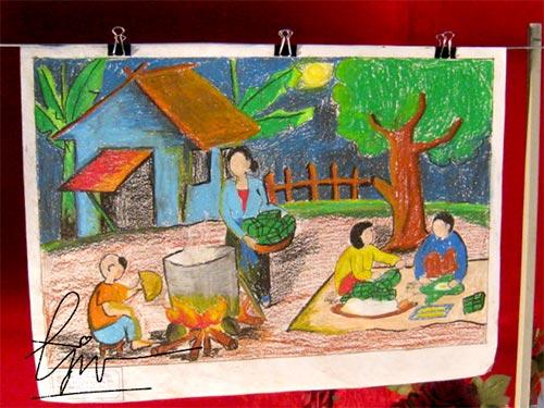 vẽ tranh đề tài lễ hội ngày tết