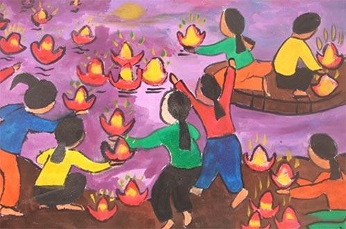 vẽ tranh đề tài lễ hội thả đèn hoa đăng