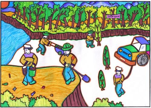 vẽ tranh đề tài lễ hội trồng cây