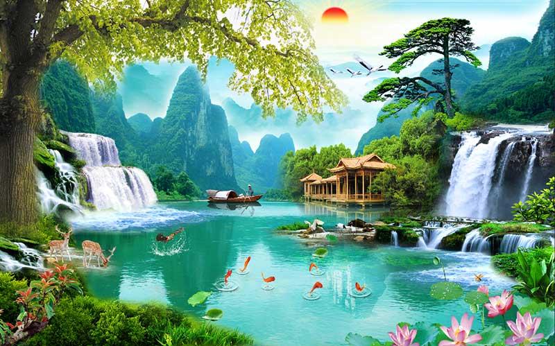 tranh sơn thủy phong cảnh thiên nhiên hồ cá