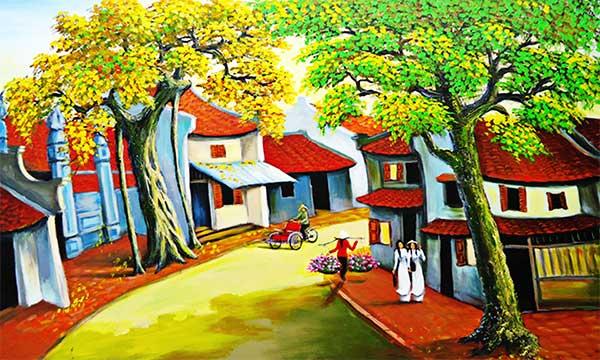 hà nội xưa - nét vẽ sơn dầu