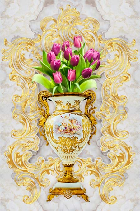 Tranh 3D bình hoa